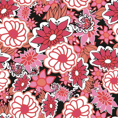 Red,pink and white doodle ditsy seamless pattern on blue background. Great for summer vintage fabric, scrapbook, wallpaper, gift wrap. Surface pattern design. Banque d'images - 140338970