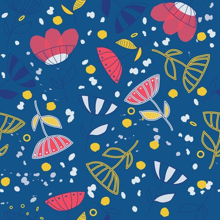 Seamless vector pattern with abstract hand drawn bright doodle flowers background. Surface pattern design for fabric, wallpaper, scrapbooking, cards or backgrounds, banners, childrens fashion decor.