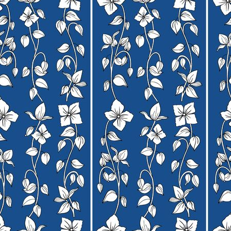 Classic flowing art nouveau hand drawn vine design. Seamless vector pattern on blue background. Great for well-being, cosmetic, food products, summer, packaging,stationery, home decor.