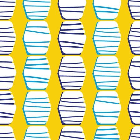 Abstract bright geometric seamless pattern on yellow background. Striped hexagons with blue accents. Great for textiles, home decor, beach towels, stationery, graphic design, fashion.