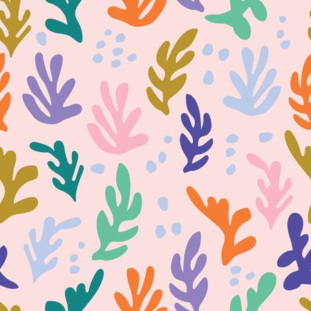 Retro underwater multicolored seaweed seamless pattern on pink background. Great for marine inspired fabric, invitations, wallpaper, gift wrap, paper crafts, home decor. Illustration
