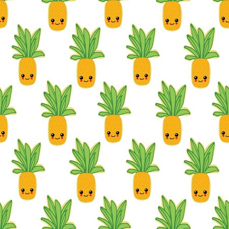 Summer colorful pineapple textile print.Pineapple background for scrapbooking.Pineapple vector background.Pineapple seamless pattern.Pineapple textile pattern. Isolated pineapple repeating background. Illustration