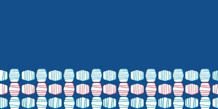 Abstract classic geometric seamless border on blue background. Striped hexagons with red accents. Great for textiles, home decor, beach towels, stationery, graphic design, fashion. Banque d'images - 143164316