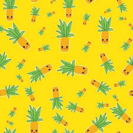 Summer colorful pineapple textile print. Summer background for scrapbooking. vector background.Cute seamless pattern .Textile pattern. Isolated pineapple repeating background. Banque d'images - 143669467