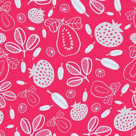Stylized pomegranate and leaves doodle on bright pink background. Great for apparel, kitchen products, packaging.
