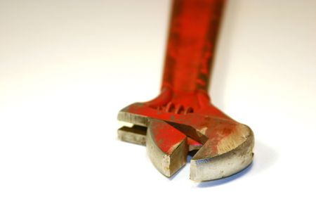 dilsiz: Close up shot on a red Wrench Stock Photo