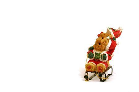 Christmas Decoration - Teddy bears on slide Stock Photo