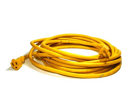 Yellow Power Cord Extension Stock Photo