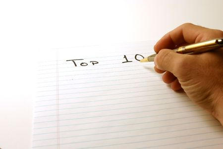 TOP 10 - Notepad & PenIsolated Stock Photo
