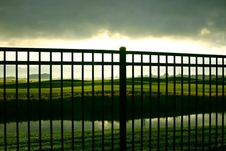Sunrise Behind the Fence, over the Golf Course