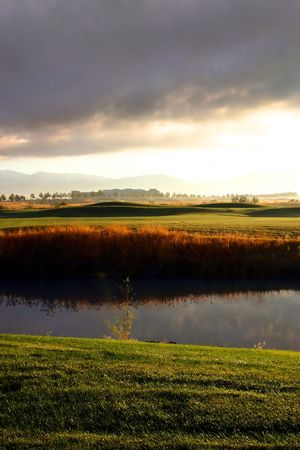 Sunrise over the Golf Course in the Valley Stock Photo