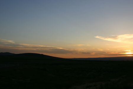 Sunset in Oregon by the highway Stock Photo