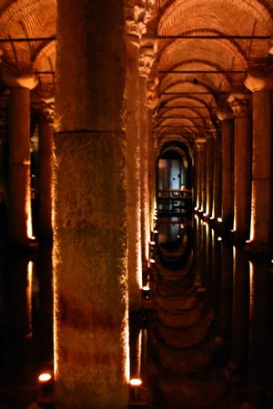 Underground Palace Cistern in Istanbul built during Ottoman Empire Era Stock Photo