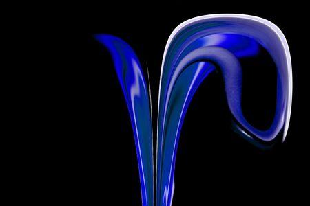抽象芸術 - 黒の背景を持つ青い花
