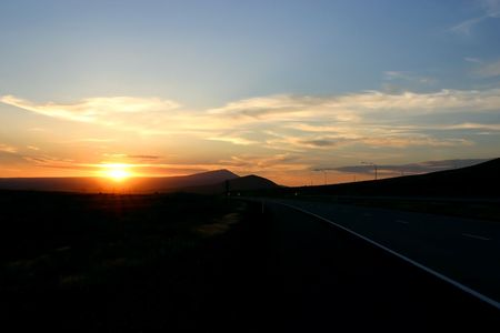Sunset by the Highway in Oregon Stock Photo