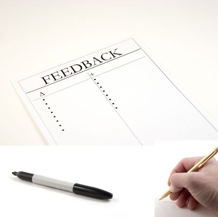Feedback Paper - hand with pen and marker included separately.  Feeback Paper dimension 3020x2048... Hand with pen dimension 1000x990, Marker dimension 1700x760 Stock Photo