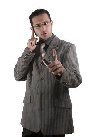 sarc�stico: Empresario en el tel�fono con PDA en la mano y un auricular