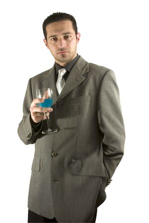 Isolated businessman celebrating with a glass of drink photo