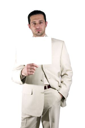 Isolated businessman with a white suit holding a blank sign photo
