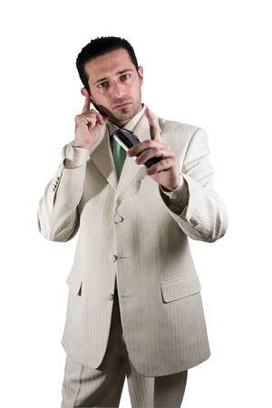 Businessman on the phone with PDA in hand and an earpiece photo