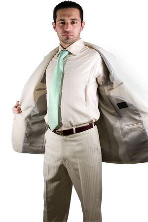 Isolated businessman taking his jacket off - End of the Day photo