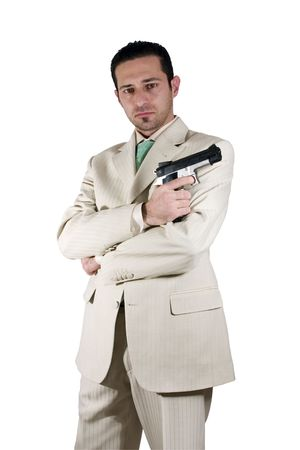 Isolated Mafia with arms crossed and a gunon hand Stock Photo - 312942