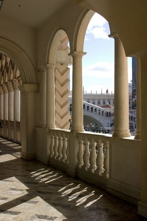 accomodation: Venetian Balcony Columns and Arches in Las Vegas Nevada Stock Photo