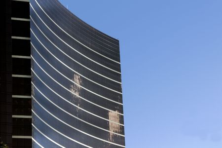 Close up on a skyscraper with clear skies in Las Vegas Stock Photo