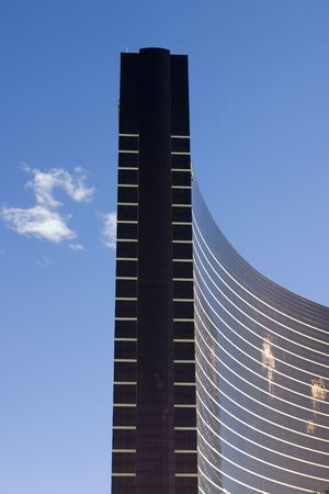 Close up on a modern skyscraper with clear skies in Las Vegas