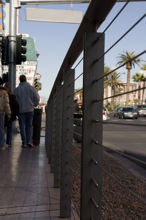 Street shot with traffic and people walking in the strip in las Vegas Stock Photo