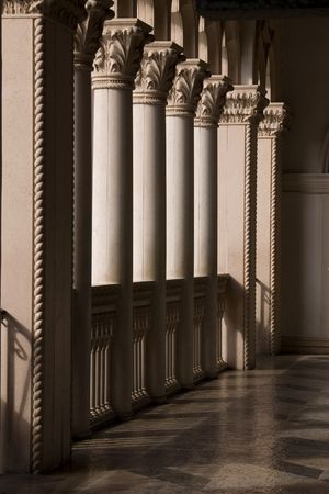 gambling stone: Venetian Balcony Columns and Arches in Las Vegas Nevada Stock Photo