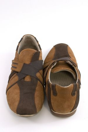 dilsiz: Isolated Close up of a Modern Brown Sports Shoes Stock Photo