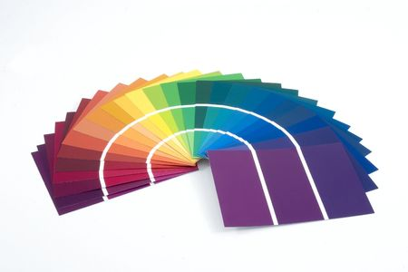 Purple to Yellow Paint Samples Stock Photo