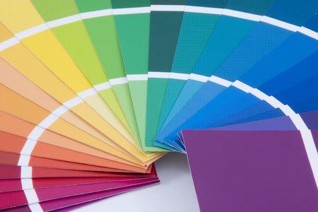 Purple to Yellow Paint Samples Stock Photo