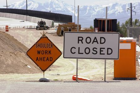Bridge Construction Site and Road Closed SIgn