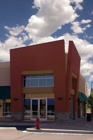 Strip Mall - Corner Store Restaurant Stock Photo