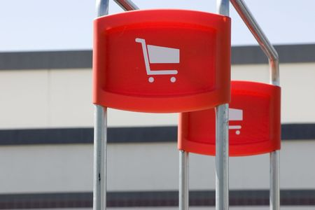 Shopping Cart Signs in the Parking Lot Stock Photo - 421430