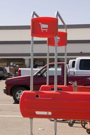 Shopping Cart Signs in the Parking Lot Stock Photo - 421428