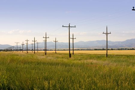 Field with Symmetric Electric Poles in Helena Montana Stock Photo - 466333