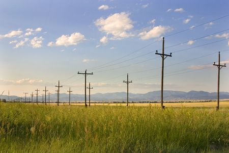 Field with Electric Poles in Helena Montana Stock Photo - 466288