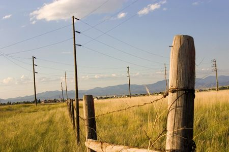 Fence in the Field with Blue Background in Helena Montana Stock Photo - 466315
