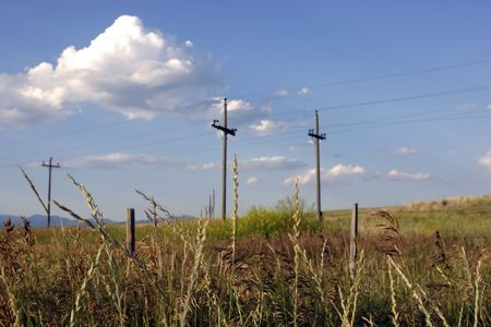 Field with Electric Poles in Helena Montana Stock Photo - 510334
