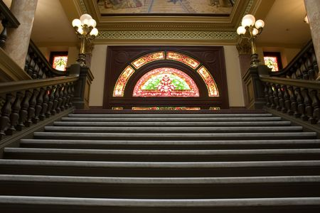 Stairways to the Second Floor of the Capital Building in Helena Montana Stock Photo