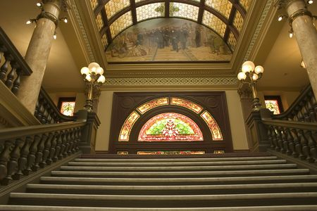 second floor: Stairways to the Second Floor of the Capital Building in Helena Montana Stock Photo