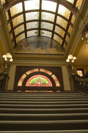 second floor: Vertical Shot of Stairways to the Second Floor of the Capital Building in Helena Montana Stock Photo