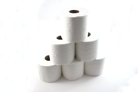 Roll of Toilet Papers Stacked up On Top of Each Other - Isolated Stock Photo