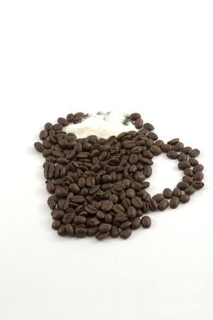 Coffee Mug and Creamer out of Coffee Beans Stock Photo - 533326