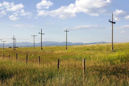 Field with Electric Poles in Helena Montana Stock Photo - 631776