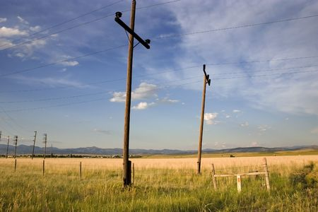 helena: Field with Electric Poles in Helena Montana Stock Photo