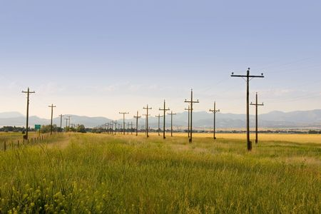 Field with Electric Poles in Perspective - Helena Montana Stock Photo - 698830